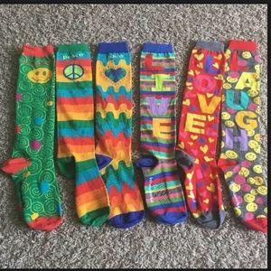 Little Miss Matched Knee High Socks 6 Singles NWOT